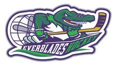 florida everblades logos   Florida Everblades Alternate Logo (1999) - A stick-toting gator riding ...