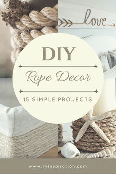 Sisal Rope Decor: 15 Cheap & Easy DIY Project Ideas for Your Home or RV to match beach / nautical, cottage, rustic, farmhouse, or boho / bohemian decor styles.