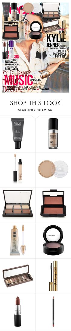KYLIE JENNER MAKEUP TUTORIAL by oroartye-1 on Polyvore featuring beauty, MAKE UP FOR EVER, Anastasia Beverly Hills, Urban Decay, NARS Cosmetics, Yves Saint Laurent, MAC Cosmetics and Rimmel