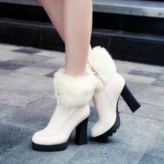 f287045c815e Fur Ankle Boots Zipper Platform High Heels Winter Shoes Woman