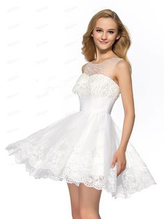2015 White Color A-Line Tulle Custom Made Neckline Beading Appliques Short Homecoming Dress Fashion New See Through Organza Short Cocktail Dress
