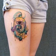 Watercolor Hamsa Hand by Red Lenara