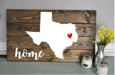 This home state sign will be the show stopper piece in your home, or make a stunning gift. Sign measures aprx. 24x14  Your item is created with country chics amazing AIO (All in one) paint line or your choice of stain. Please choose stain/paint color for background and initial, last name and established year if you would like one.  Signs come with mounting hardware on back.  The first example is Jacobean stained background, Simplicity for home and state, with devotion for the heart.  If ...