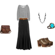 How to Wear Maxi Skirt for Fall Maxi Skirt Fall, Maxi Skirt Outfits, Maxi Skirts, Maxi Dresses, Hijab Fashion, Fashion Outfits, Fashion Ideas, Skirt Fashion, Clogs Outfit