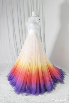 An Image gallery of 7 ombre colored wedding dresses I have done for clients. Rainbow Wedding Dress, Ombre Wedding Dress, Wedding Skirt, Colored Wedding Dresses, Wedding Gowns, Tulle Wedding, Fantasy Gowns, Tulle Skirts, Tulle Tutu