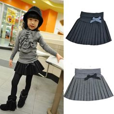 Child pleated skirt girls clothing preppy style woolen short half-length skirt 2014 spring and autumn child princess US $11.99