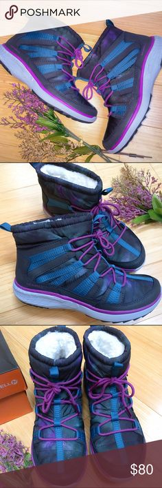 MERRELL winter boots, 8. Women's Merrell boots, size 8. Pechora Pull, dragonfly color which is a turquoise and purple galaxy print with gray accent. Brand-new, unworn. Waterproof exterior, soft inner lining. Thoroughly great! Merrell Shoes Winter & Rain Boots
