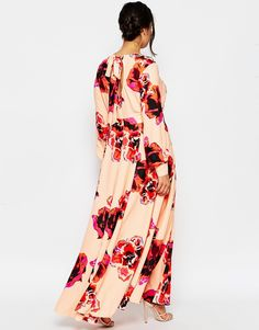 Image 2 ofASOS CURVE Kaftan Maxi Dress with Keyhole in Floral Print