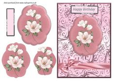Pink Magnolias Pyramid Card Front on Craftsuprint - Add To Basket!