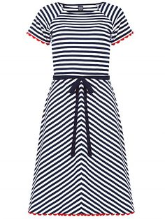 Mademoiselle Yeye Kim Dress, striped navy blue and white strepen jurk donkerblauw en wit 1960s vintage look