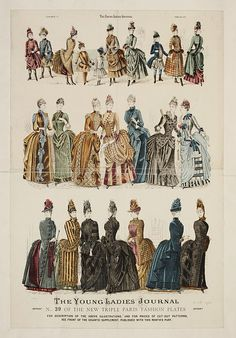 The Young Ladies Journal Triple Paris Fashion Plate Place of origin: London (published) Date: February 1887 (published) Artist/Maker: The Young Ladies' Journal (publisher) Museum number: 1880s Fashion, Victorian Fashion, Paris Fashion, Vintage Fashion, Victorian Life, Historical Costume, Historical Clothing, Women's Dresses, Drag Clothing