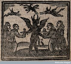 'Witchcraft: witches giving babies to the devil. Woodcut, 172', The Wellcome Library and The European Library, CC BY-NC