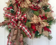 Christmas Multicolored Mesh Wreath by WilliamsFloral on Etsy