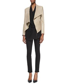 10 Casual Friday Outfits Your Boss Will Love: Pale Leather Jacket and Black Jeans