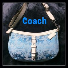 "Coach Chelsea Horse and Carriage Hobo Beautiful baby blue Coach ""Chelsea"" hobo has signature  horse and carriage design. Outer shell is a Jacquard fabric with leather trim. Inside fabric has one zippered pocket and 2 pouch pockets. Leather adjustable strap. Approximately size: 12""x7""x3"". Very clean inside and out. No rips, tears, stains or snags. Like new. Coach Bags Hobos"