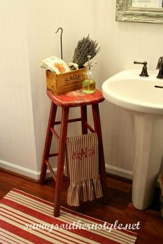 Thanks to Eggleston Design for passing on this tip. If you have a very small bathroom with no sink space, get a stool and a cute container to add thing you need at hand on a regular basis; you can even hang a towel or towels. #EliteFurnitureGallery #SmallBathroomTip
