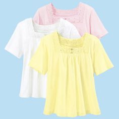 Eyelet Trim Top - Women's Clothing – Casual, Comfortable & Colorful Styles – Plus Sizes