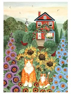 ACEO Original Acrylic Painting folkart cats landscape flowers birds whimsical