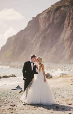 Glam Beach Wedding Portraits | Vitaly M Photography | Black Tie Coastal Wedding with Glam Neutral Details