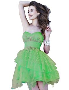 Green Layered Beaded Strapless Mini Short Prom Dresses http://www.uhomecomingdress2013.com/