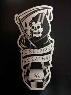 Traditional Grim Reaper With Creeping Death Banner Tattoo Design