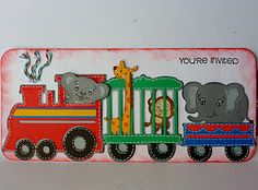Zoo Train Invite made with Create a Critter and Carousel Cricut cartridges