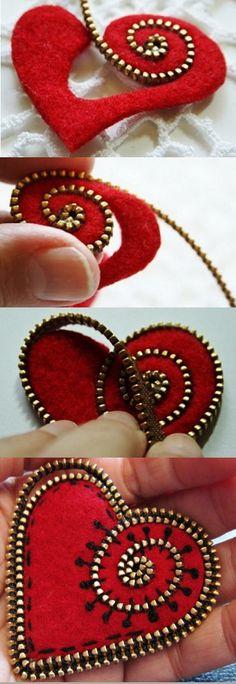 Tutorial for making a felt and zipper heart brooch PDF Art on fabric Zipper Flowers, Felt Flowers, Fabric Flowers, Ribbon Flower, Ribbon Hair, Hair Bows, Felt Crafts, Fabric Crafts, Sewing Crafts