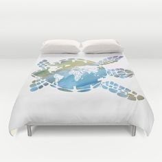 Mother Earth is a watercolor sea turtle with a map of the World. This is a great addition to your coastal theme or travel decor room. It would