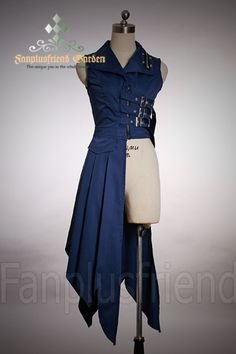 Gothic Punk: Bias Long Unisex Blouse, Zipper&Buckles -- $53