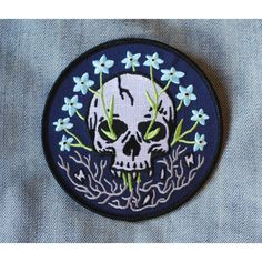 """""""From my rotting body, flowers shall grow and I am in them and that is eternity.""""–Edvard Munch Twill patch w/detailed embroidery Merrowed edge Iron-on backing L Cute Patches, Pin And Patches, Iron On Patches, Embroidery Patches, Embroidered Patch, Cute Pins, Stickers, Pin Badges, Cross Stitch"""