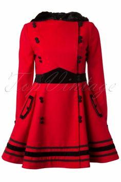 Top Vintage - Bunny - Vintage Sofia Hooded Winter Swing Coat in Red
