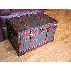 @Overstock.com.com - Sienna Medium Faux Leather Wooden Chest Steamer Trunk - These Sienna chest boxes are all handcrafted and tailored to enhance the existing decor of any room in the home. These medium trunks are also trimmed in faux leather and provide ample storage space.  http://www.overstock.com/Home-Garden/Sienna-Medium-Faux-Leather-Wooden-Chest-Steamer-Trunk/5973920/product.html?CID=214117 $119.99