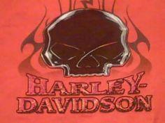 Harley Davidson Mens L Orange Scull Battlefield Gettsburg PA T Shirt USA | eBay