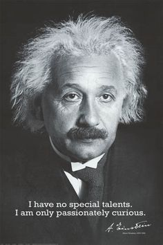 Albert Einstein Passionately Curious Quote 24x36 Poster