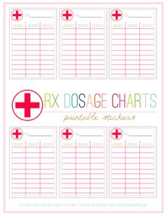 QUICK PRINT: FREE Rx Dosage Chart Stickers keep track of you dosage with these free printable stickers. Just stick them to the bottle and jot down each dosage!