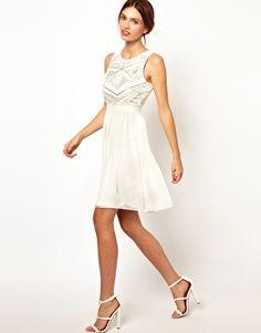 Warehouse Shoulder Detail Embellished Bodice Dress