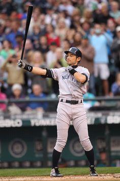 Ichiro Suzuki #31 of the the New York Yankees bats against the Seattle Mariners at Safeco Field on July 23, 2012 in Seattle, Washington. Suzuki was traded from the Mariners to the Yankees earlier in the day.
