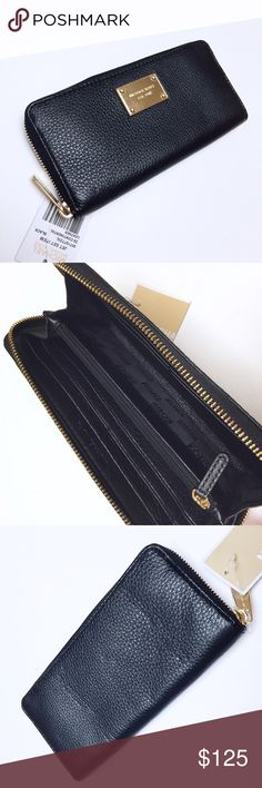 """Michael Kors - """"Continental"""" Black Zip Wallet Michael Kors """"Continental"""" wallet in black with gold hardware. New with tags. 💟 Offers welcome. 🙅🏻 No trades. 🎀 Bundle for discount. Michael Kors Bags Wallets"""