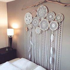 Wall decor room cute white dream catcher for on chic interior boho nursery Décor Boho, Boho Diy, Bohemian Decor, Bohemian Style, Hippie Bohemian, White Bohemian, Modern Bohemian, Bohemian Crafts, Bohemian Homes