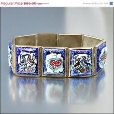 Sun/Mon ONLY SALE Persian Enamel Silver Bracelet Art by boylerpf, $71.80