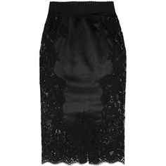 Dolce & Gabbana Stretch silk-blend satin and lace pencil skirt (2,335 CAD) ❤ liked on Polyvore featuring skirts, black, black knee length skirt, lace skirt, lace pencil skirt, elastic waist skirt and pencil skirt
