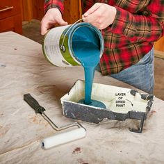 No-Maintenance Paint TrayDon't bother cleaning or putting liners in your paint trays. Just pour any excess paint back into the can and let the paint in the tray dry completely before using it again. Painting Trim, House Painting, Diy Painting, Painting Hacks, Painting Steps, Painting Tools, Push Broom, Lead Paint, Painted Trays