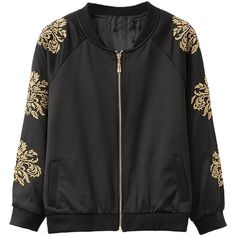 Choies Black Embroidery Floral Zipper Bomber Jacket (€27) ❤ liked on Polyvore featuring outerwear, jackets, tops, coats & jackets, casacos, black, floral embroidered jacket, flower print bomber jacket, black zipper jacket and zip jacket