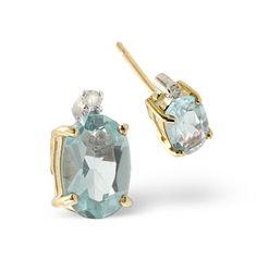 Aquamarine 0.80CT And Diamond 9K Yellow Gold Earrings. #thediamondstoreuk #jewellery #christmas #gift