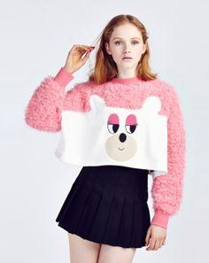 Lazy Oaf Fur Bear Cropped Sweatshirt