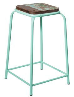 Industrial bar stool mint $185.00  Great industrial style coloured bar stools with a metal frame and wooden seat. The square wooden seat features a rustic patina look which varies on each stool. These stools look great at a standard size breakfast bar.   Colours: mint, yellow, black  Dimensions: 66cm high x 37cm square (seat), leg span 41cm