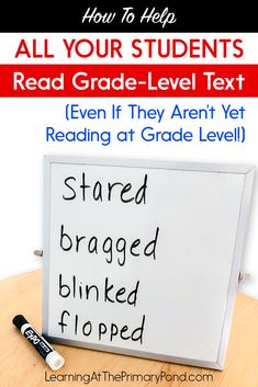 How to Help ALL Your Students Read Grade-Level Text (Even If They Aren't Yet Reading at Grade Level!) – Learning at the Primary Pond Decoding Strategies, Reading Comprehension Strategies, Reading Fluency, Reading Intervention, Teaching Reading, Guided Reading, Teaching Ideas, Reading Help, Kindergarten Reading