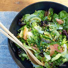 Green Salad with Grapefruit and Avocado