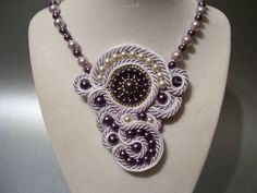 Soutache Plum and Lavender with Pearl Accents Pendant Necklace