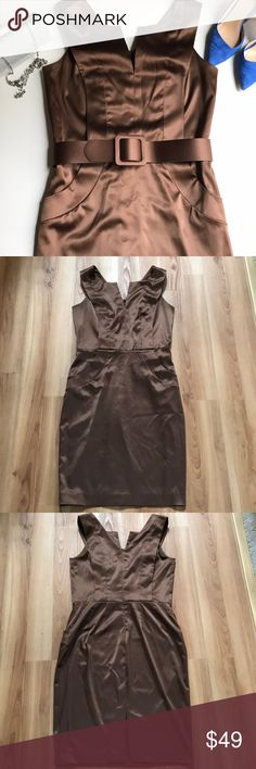 Ellen Tracy Brown Satin Midi Dress Stunning, milk chocolate color day to evening satin dress with belt. Zipper in the back, slightly stretchy fabric. Lined bodice. 97% polyester, 3% spandex. Size 8. EUC Ellen Tracy Dresses Midi